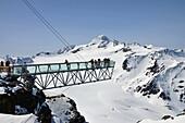 View over glacier Tiefenbach, viewpoint with Wildspitze, Soelden, Oetztal, Winter in Tyrol, Austria