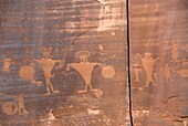Indian petroglyphs from the formative period along Utah Scenic Byway 279 near Moab, Utah, USA