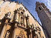Main front and belltower of the Baroque church of San Juan Bautista (18th century), Alcala de Xivert. Baix Maestrat, Castellon province, Comunidad Valenciana, Spain