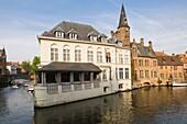 Rozenhoedkaai and restaurant Ducs de Bourgogne, Historic centre of Bruges, Belgium, Unesco World Heritage Site
