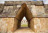 Nunnery Quadrangle in Pre-Columbian mayan ruins of Uxmal. Yucatan. Mexico.