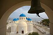 Perissa. Orthodox church.Santorini island. Cyclades islands. Aegean Sea. Greece.