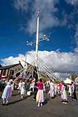 children dancing around the holywood maypole on may day in holywood county down northern ireland uk