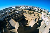 Africa, African, Architecture, Buildings, City, Cityscape, Courtyard, Elevated, Fish eye, Fort, Fortified, Fortress, High, Historic, Historical, Houses, Islamic, Landmark, Large angle, Medina, North africa, Northern africa, Overlook, Overview, Ribat, Sous