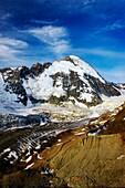 Switzerland Valais, Zmuttgletscher Zmuttgletscher glacier and surrounding mountains, near north western foot of the Matterhorn