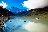New Zealand, Canterbury, Mt Cook National Park Mount Cook viewed from the Hooker Valley