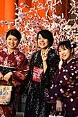 NR 3 Kimono dressed girls at Heian jinga shrine