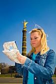 Berlin City, Deutschland, Germany, Girl Looking at Map, Lost, Tourist, Deutschland, Young, Woman, Siegessauele, Victory Column, Grosser Stern, Blonde Woman, with Map, Tourist, travel, Look, Looking, Find, City, Break, Europe, Europa, Capital, Alone, Archi
