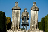 Spain andalusia cordoba alcazar of the christian kings statues of christopher columbus talking with king ferdinand of aragon