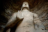 China shanxi yungang shiku caves near datong a giant buddha statue carved inside a grotto