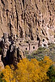 Main Loop trail showing the archeology features along Frijoles Canyon at Bandelier National Monument in New Mexico Talus House