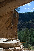 Main Loop trail showing the archeology features along Frijoles Canyon at Bandelier National Monument in New Mexico Alcove House