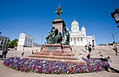Statue of Alexander II in Senaatintori Senate square Helsinki Finland