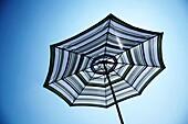 Open parasol in an English garden