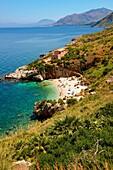 Isolated cove beach at Riserva Naturale dello Zingaro Zingaro nature reserve Scopello, Castellammare Del Golfo, Sicily