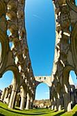Rievaulx Abbey main aisle arches and windows North Yorkshire, England