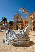 The Awakening a 70 ft sculpture aluminuim sculpture by Seward Johnson - Duomo square, Syracuse Siracusa, Sicily