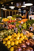 Produce Stand with Lemons, Shallots and Tomatillos at Pike Place Market, Seattle, Washington, Selective Focus