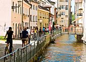 Dreisam river passing old town, Freiburg im Breisgau, Baden-Wurttemberg, Germany
