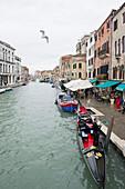 Canal with gondola, Cannaregio, Venice, Veneto, Italy