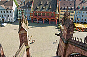 View from Freiburg Minster to Minster square, old town, Freiburg im Breisgau, Baden-Wurttemberg, Germany