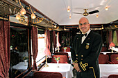 Guiseppe, Maitre D'Hotel with the Venice Simplon Orient-Express Company, Posing in the Dining Car of the Prestigious Orient Express, Venice, Venetia, Italy