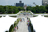 World Heritage Peace Memorial Park in Memory of the Bombing and Mass Destruction of Hiroshima, with the Genbaku Dome, Hiroshima, Japan