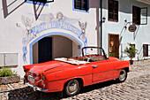 Classic Car Parked, Cesky Krumlov, Bohemia, Czech Republic