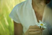 Female holding flower, cropped view, defocused