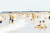 People on beach, blurred