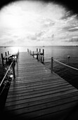 Pier and sea, b&w