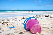 Toy bucket on Playa Pilar beach, Cayo Guillermo, Jardines del Rey, Ciego de Avila, Cuba