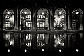 Cafe Florian, Piazza San Marco at night, flood water, Aqua Alta, Venice, Italy