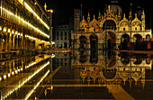 Reflection, flood water, Unesco World Cultural Heritage, Piazza San Marco at night, St. Mark's Basilica, Basilica di San Marco,  Venice, Italy