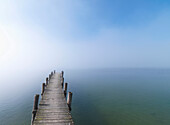 Wooden jetty in fog at lake Chiemsee, Frauenchiemsee, Chiemgau, Bavaria, Germany
