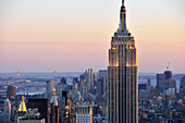 View from Rockefeller Center, Downtown, Empire State Building, Manhattan, New York City, New York, USA