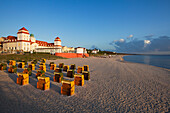 Beach chairs on the beach in front of the Spa Hotel, Binz seaside resort, Ruegen island, Baltic Sea, Mecklenburg-West Pomerania, Germany