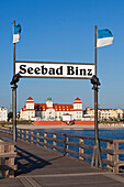 View from the beach onto the Spa Hotel, Binz seaside resort, Ruegen island, Baltic Sea, Mecklenburg-West Pomerania, Germany, Europe