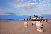Beach chairs and pier in the evening, Ahlbeck seaside resort, Usedom island, Baltic Sea, Mecklenburg-West Pomerania, Germany, Europe