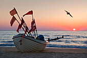 Fishing boat and seagull at sunrise, Bansin seaside resort, Usedom island, Baltic Sea, Mecklenburg-West Pomerania, Germany, Europe