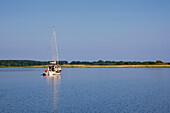 Sailing boat at Achterwasser near Neppermin, Usedom island, Baltic Sea, Mecklenburg-West Pomerania, Germany