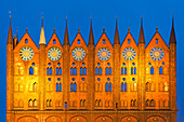 Ornamental facade of the town hall in the evening, Stralsund, Baltic Sea, Mecklenburg-West Pomerania, Germany, Europe