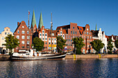 Houses with stepped gables at Holsten harbour, Hanseatic city of Luebeck, Baltic Sea, Schleswig-Holstein, Germany