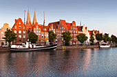 View over harbor to gabled houses and St. Mary' s church, Hanseatic City of Luebeck, Schleswig Holstein, Germany