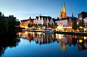 View over the Trave river to the old town of Luebeck with St Mary´s church, Hanseatic city of Luebeck, Baltic Sea, Schleswig-Holstein, Germany