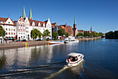 Houses with stepped gables at Holsten harbour, St. Mary´s church and church of St Petri, Hanseatic city of Luebeck, Baltic Sea, Schleswig-Holstein, Germany