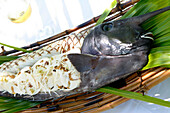 French Polynesia, cooked fish, grill