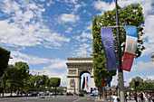 France, Paris, Champs-Elysées, Arc de Triomphe, french et EU flags (french EU presidency from june to december 2008)