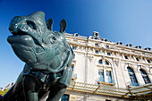 France, Paris, Orsay museum, sculpture of rhinoceros (by Alfred Jacquemart)