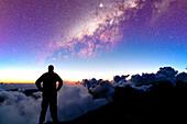 Portugal, Madeira, man looking at Milky Way